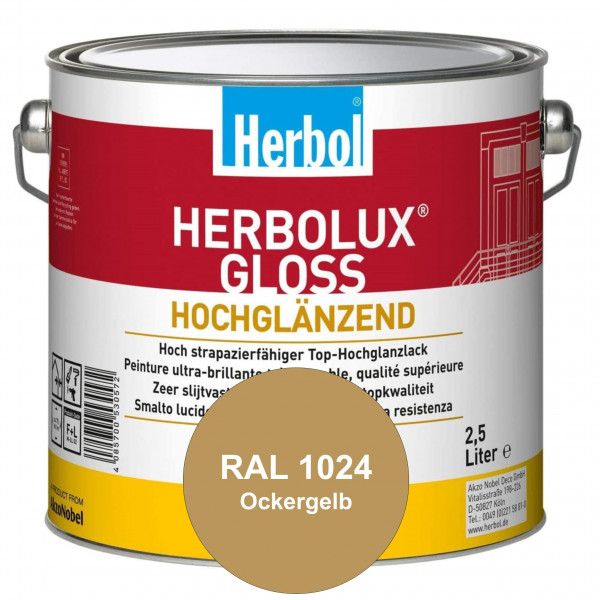 Herbolux Gloss (RAL 1024 Ockergelb) strapazierfähiger Top-Hochglanzlack (lösemittelhaltig) für innen