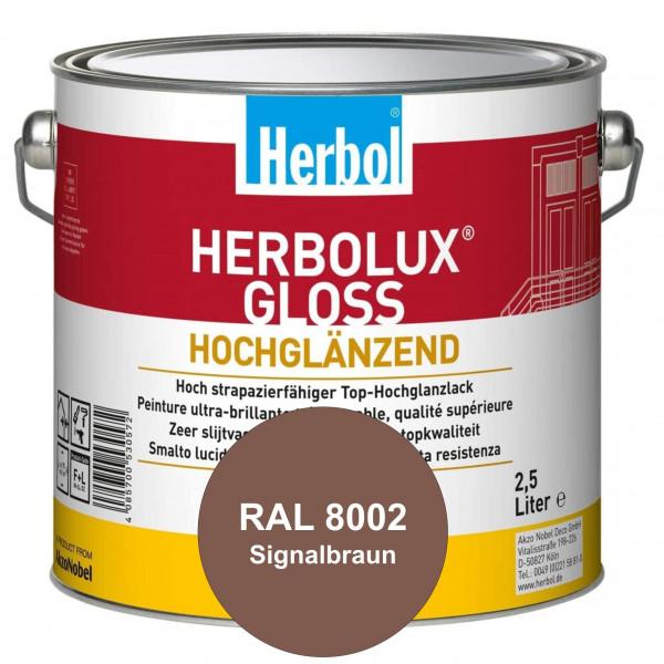 Herbolux Gloss (RAL 8002 Signalbraun) strapazierfähiger Top-Hochglanzlack (lösemittelhaltig) für inn