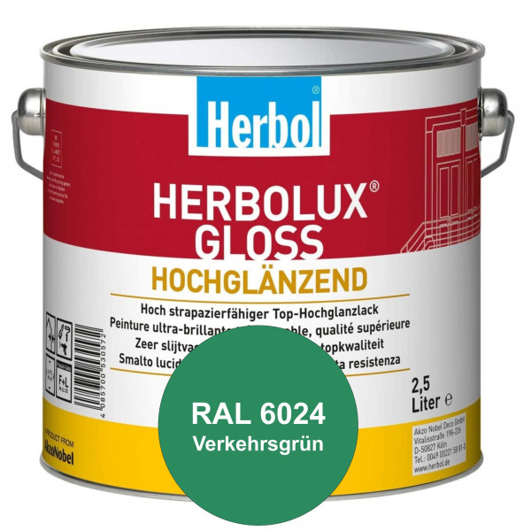 Herbolux Gloss (RAL 6024 Verkehrsgrün) strapazierfähiger Top-Hochglanzlack (lösemittelhaltig) für in