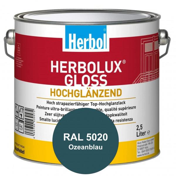 Herbolux Gloss (RAL 5020 Ozeanblau) strapazierfähiger Top-Hochglanzlack (lösemittelhaltig) für innen