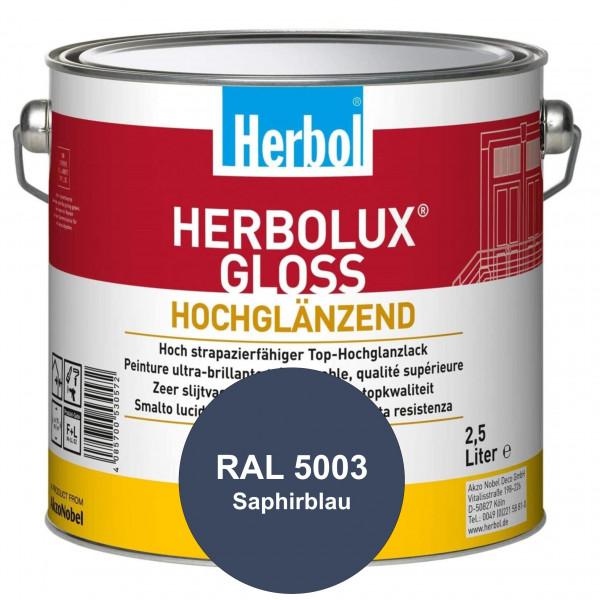 Herbolux Gloss (RAL 5003 Saphirblau) strapazierfähiger Top-Hochglanzlack (lösemittelhaltig) für inne