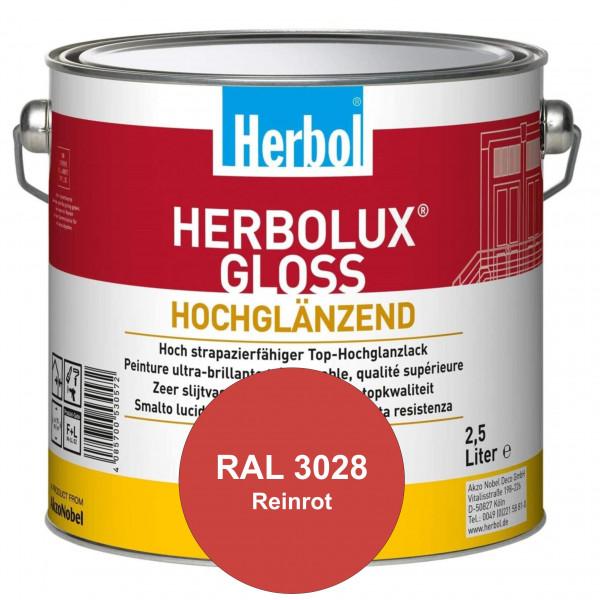 Herbolux Gloss (RAL 3028 Reinrot) strapazierfähiger Top-Hochglanzlack (lösemittelhaltig) für innen &