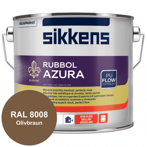 Rubbol Azura (RAL 8008 Olivbraun) hochglänzender Lack (löselmittelhaltig) innen & außen