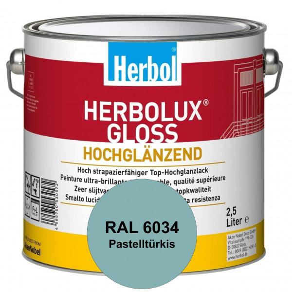 Herbolux Gloss (RAL 6034 Pastelltürkis) strapazierfähiger Top-Hochglanzlack (lösemittelhaltig) für i