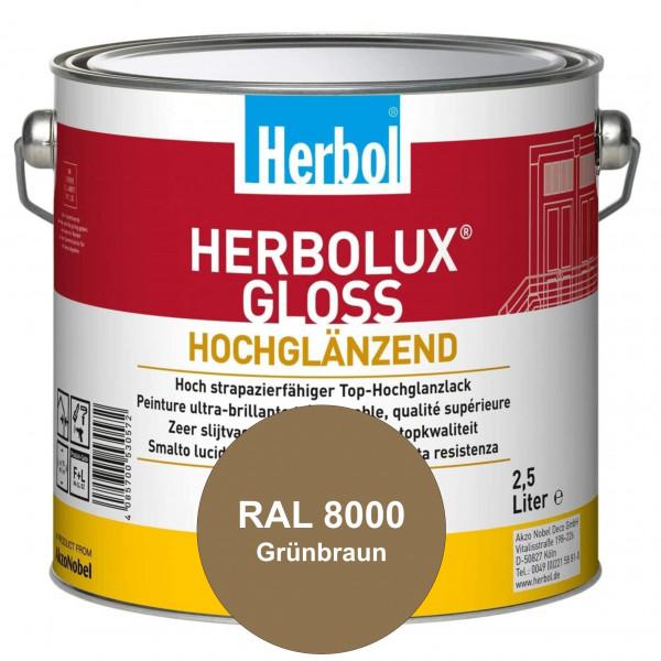 Herbolux Gloss (RAL 8000 Grünbraun) strapazierfähiger Top-Hochglanzlack (lösemittelhaltig) für innen