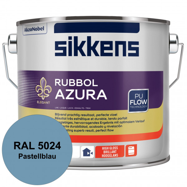 Rubbol Azura (RAL 5024 Pastellblau) hochglänzender Lack (löselmittelhaltig) innen & außen