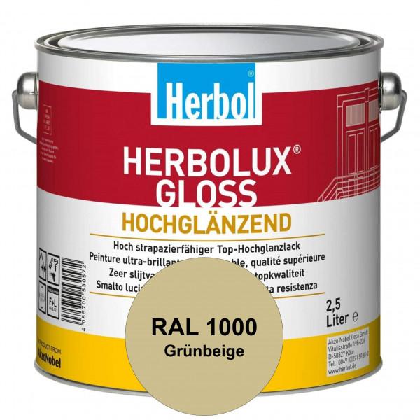 Herbolux Gloss (RAL 1000 Grünbeige) strapazierfähiger Top-Hochglanzlack (lösemittelhaltig) für innen