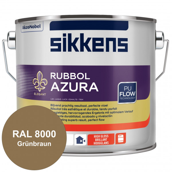 Rubbol Azura (RAL 8000 Grünbraun) hochglänzender Lack (löselmittelhaltig) innen & außen