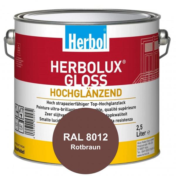Herbolux Gloss (RAL 8012 Rotbraun) strapazierfähiger Top-Hochglanzlack (lösemittelhaltig) für innen