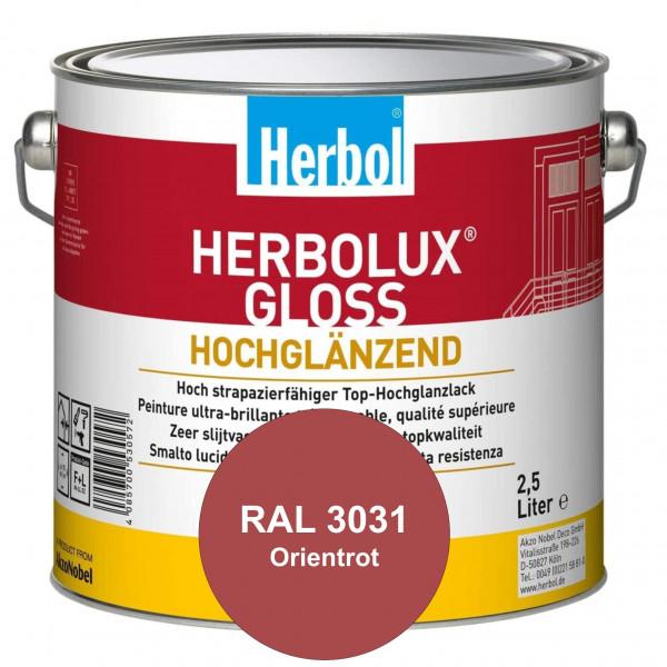 Herbolux Gloss (RAL 3031 Orientrot) strapazierfähiger Top-Hochglanzlack (lösemittelhaltig) für innen