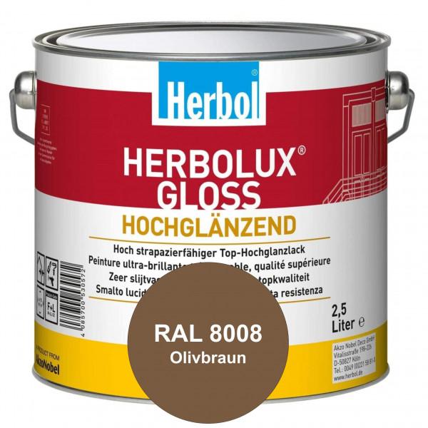 Herbolux Gloss (RAL 8008 Olivbraun) strapazierfähiger Top-Hochglanzlack (lösemittelhaltig) für innen