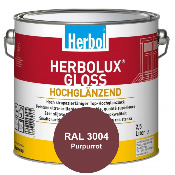 Herbolux Gloss (RAL 3004 Purpurrot) strapazierfähiger Top-Hochglanzlack (lösemittelhaltig) für innen