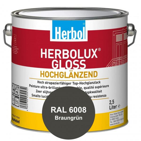 Herbolux Gloss (RAL 6008 Braungrün) strapazierfähiger Top-Hochglanzlack (lösemittelhaltig) für innen