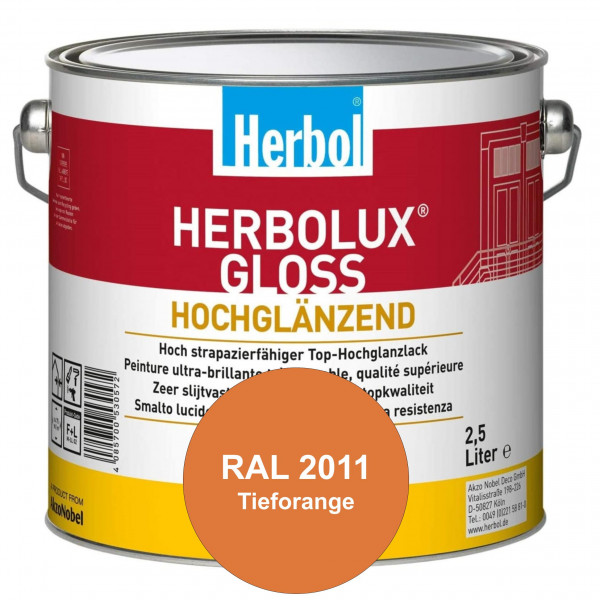 Herbolux Gloss (RAL 2011 Tieforange) strapazierfähiger Top-Hochglanzlack (lösemittelhaltig) für inne