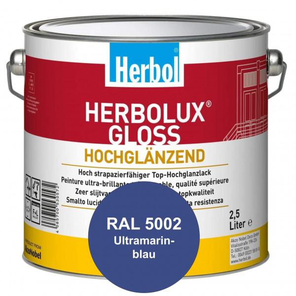 Herbolux Gloss (RAL 5002 Ultramarinblau) strapazierfähiger Top-Hochglanzlack (lösemittelhaltig) für