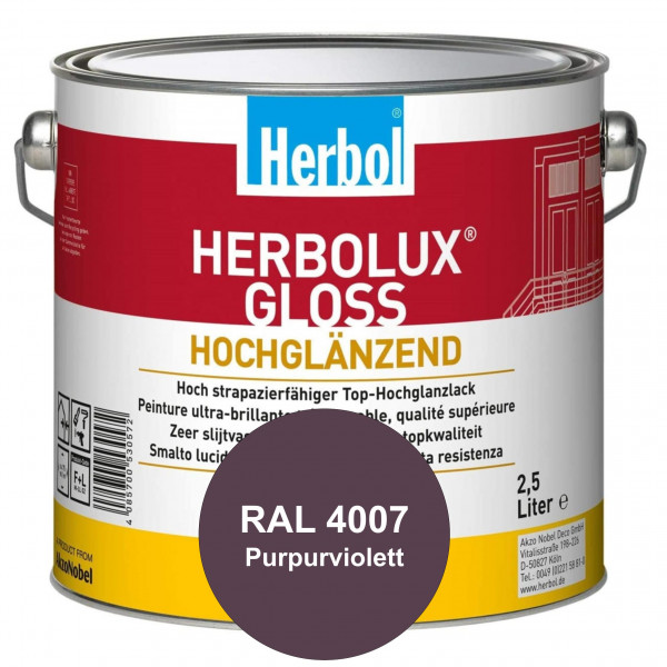Herbolux Gloss (RAL 4007 Purpurviolett) strapazierfähiger Top-Hochglanzlack (lösemittelhaltig) für i