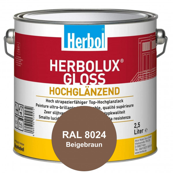 Herbolux Gloss (RAL 8024 Beigebraun) strapazierfähiger Top-Hochglanzlack (lösemittelhaltig) für inne