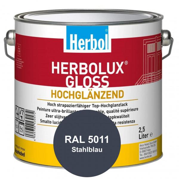 Herbolux Gloss (RAL 5011 Stahlblau) strapazierfähiger Top-Hochglanzlack (lösemittelhaltig) für innen