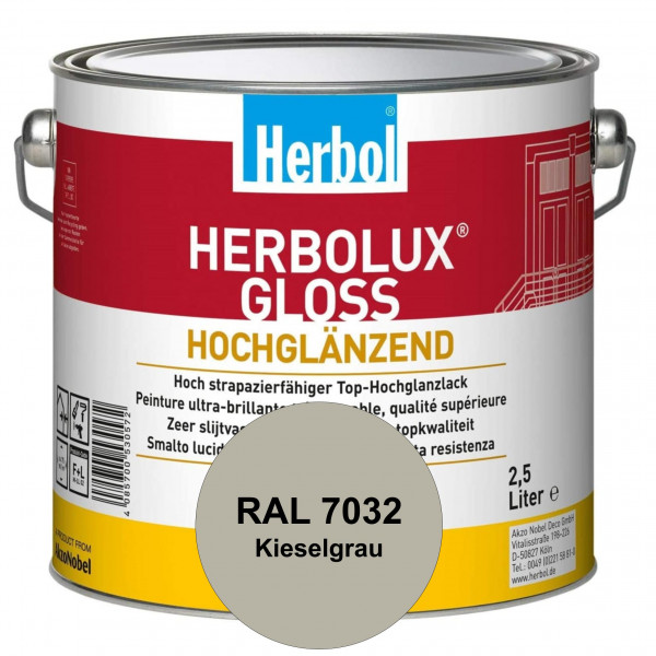 Herbolux Gloss (RAL 7032 Kieselgrau) strapazierfähiger Top-Hochglanzlack (lösemittelhaltig) für inne