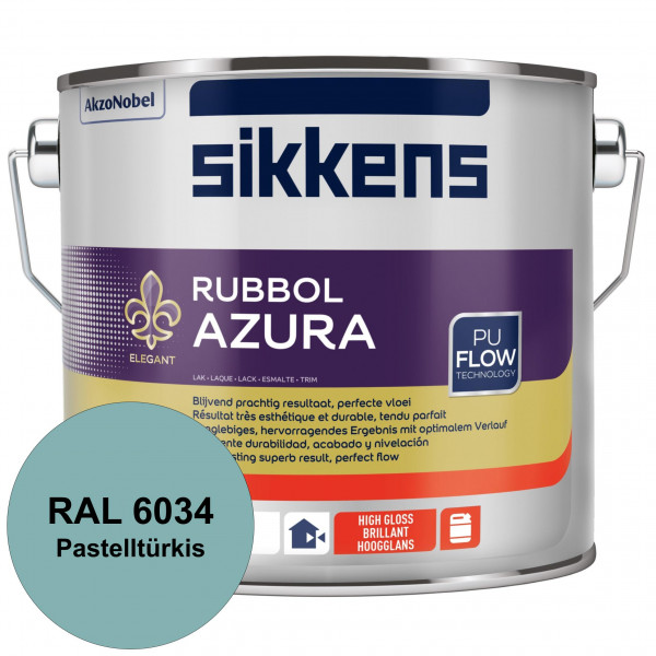 Rubbol Azura (RAL 6034 Pastelltürkis) hochglänzender Lack (löselmittelhaltig) innen & außen