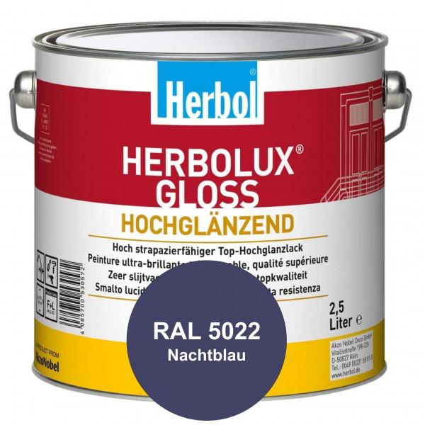 Herbolux Gloss (RAL 5022 Nachtblau) strapazierfähiger Top-Hochglanzlack (lösemittelhaltig) für innen