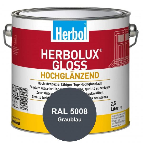 Herbolux Gloss (RAL 5008 Graublau) strapazierfähiger Top-Hochglanzlack (lösemittelhaltig) für innen