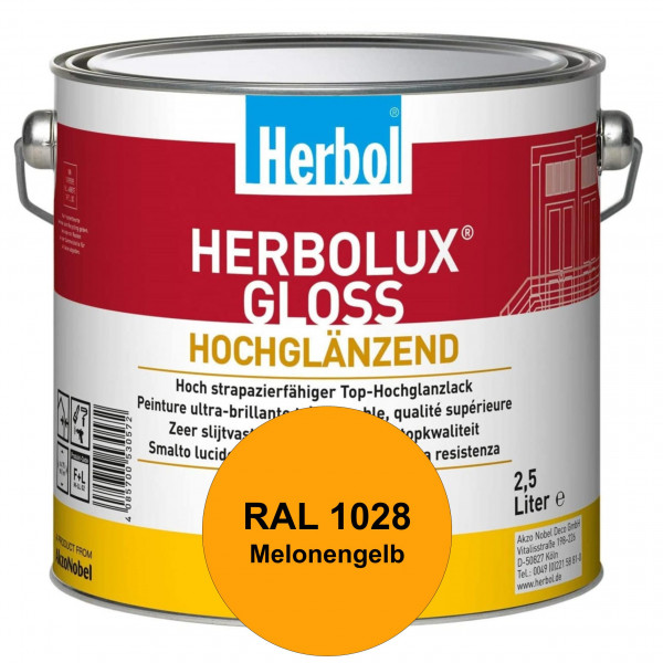Herbolux Gloss (RAL 1028 Melonengelb) strapazierfähiger Top-Hochglanzlack (lösemittelhaltig) für inn