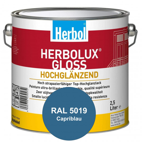 Herbolux Gloss (RAL 5019 Capriblau) strapazierfähiger Top-Hochglanzlack (lösemittelhaltig) für innen