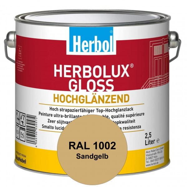 Herbolux Gloss (RAL 1002 Sandgelb) strapazierfähiger Top-Hochglanzlack (lösemittelhaltig) für innen