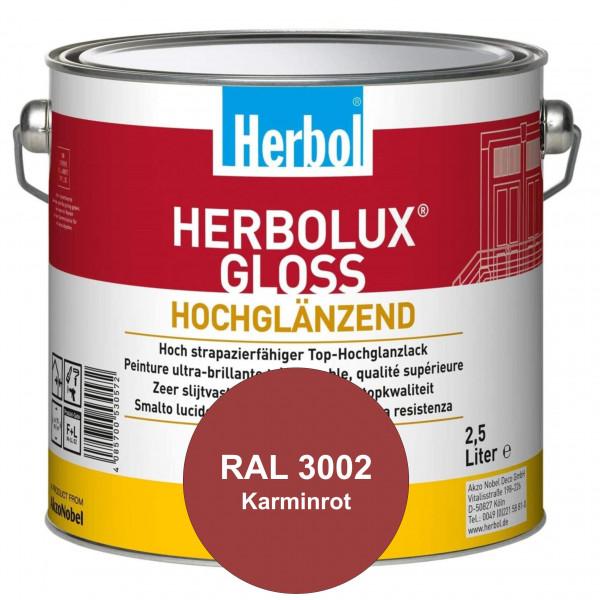Herbolux Gloss (RAL 3002 Karminrot) strapazierfähiger Top-Hochglanzlack (lösemittelhaltig) für innen
