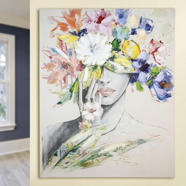 """Gemälde """"Frau mit Blumenhut"""" auf Leinwand, creme/grau mit bunten Blumen"""