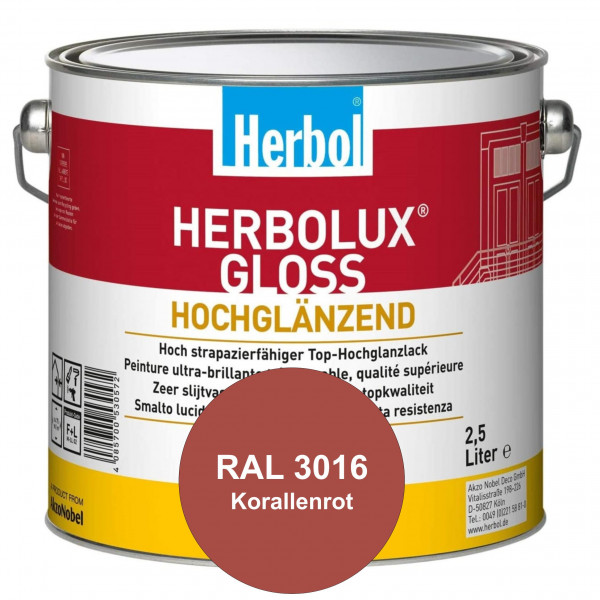 Herbolux Gloss (RAL 3016 Korallenrot) strapazierfähiger Top-Hochglanzlack (lösemittelhaltig) für inn
