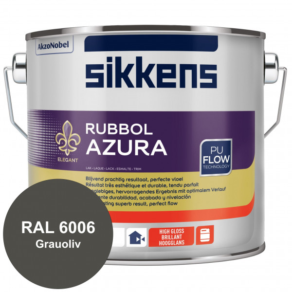Rubbol Azura (RAL 6006 Grauoliv) hochglänzender Lack (löselmittelhaltig) innen & außen