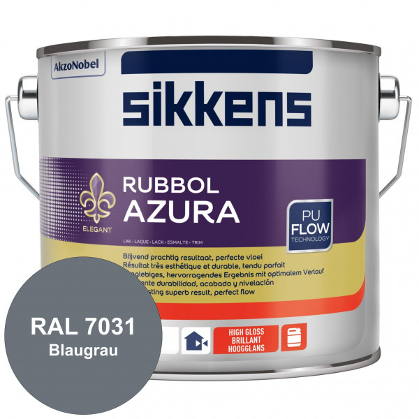 Rubbol Azura (RAL 7031 Blaugrau) hochglänzender Lack (löselmittelhaltig) innen & außen