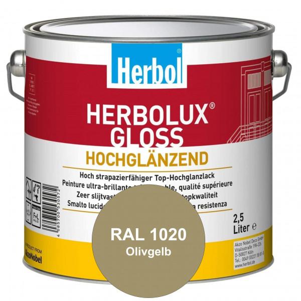 Herbolux Gloss (RAL 1020 Olivgelb) strapazierfähiger Top-Hochglanzlack (lösemittelhaltig) für innen