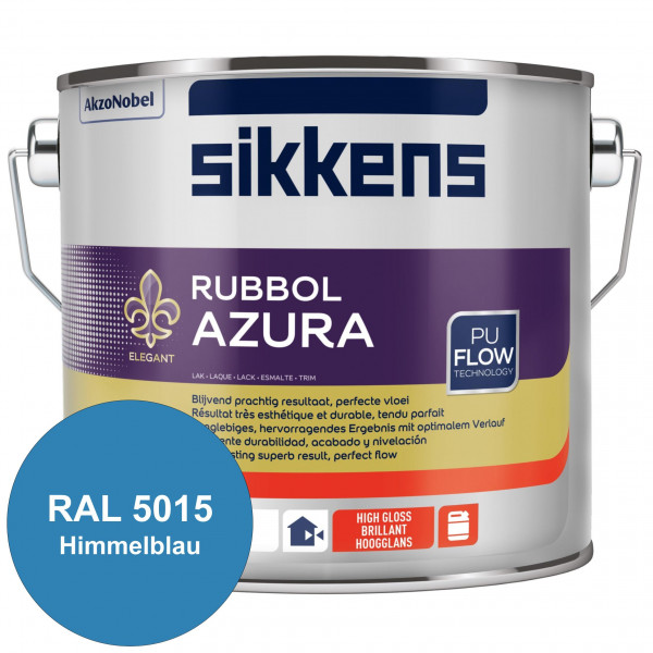Rubbol Azura (RAL 5015 Himmelblau) hochglänzender Lack (löselmittelhaltig) innen & außen