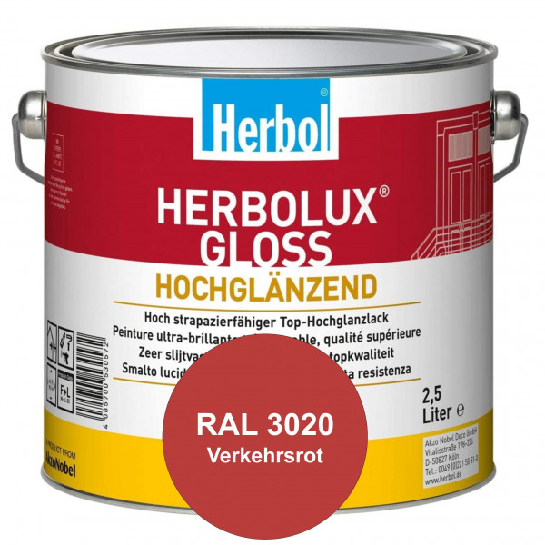Herbolux Gloss (RAL 3020 Verkehrsrot) strapazierfähiger Top-Hochglanzlack (lösemittelhaltig) für inn