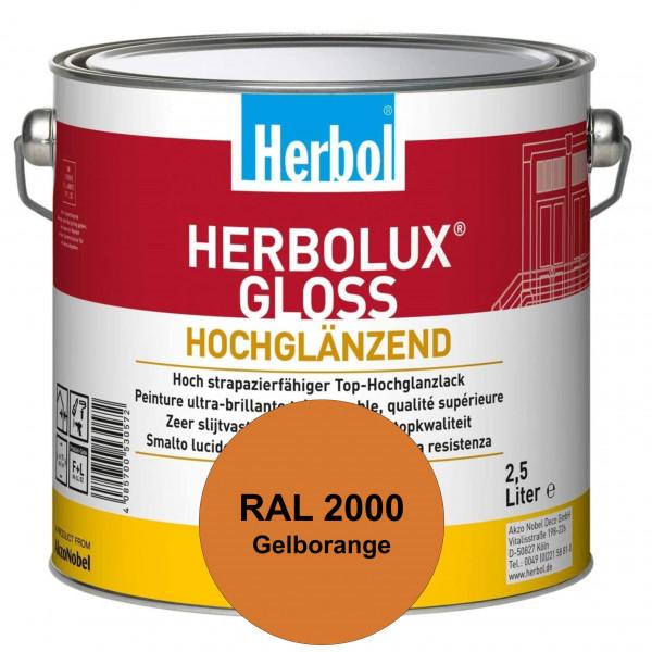 Herbolux Gloss (RAL 2000 Gelborange) strapazierfähiger Top-Hochglanzlack (lösemittelhaltig) für inne