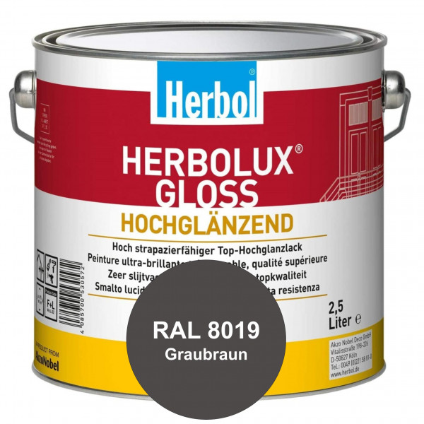 Herbolux Gloss (RAL 8019 Graubraun) strapazierfähiger Top-Hochglanzlack (lösemittelhaltig) für innen