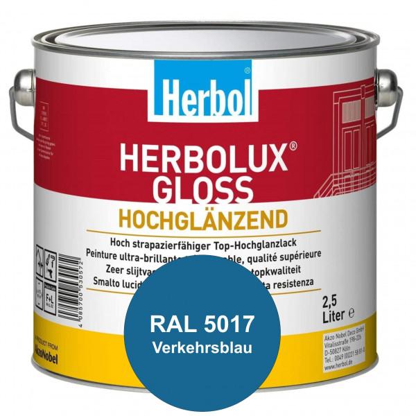 Herbolux Gloss (RAL 5017 Verkehrsblau) strapazierfähiger Top-Hochglanzlack (lösemittelhaltig) für in