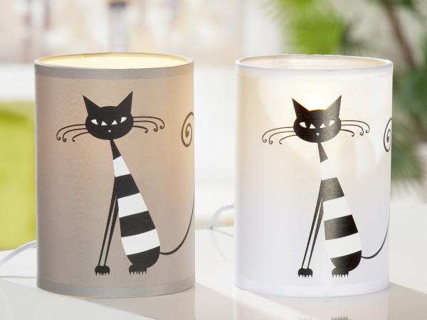 LED Lampe mit Katze (grau und weiß)