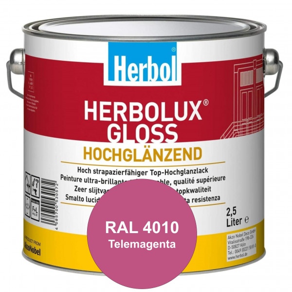 Herbolux Gloss (RAL 4010 Telemagenta) strapazierfähiger Top-Hochglanzlack (lösemittelhaltig) für inn