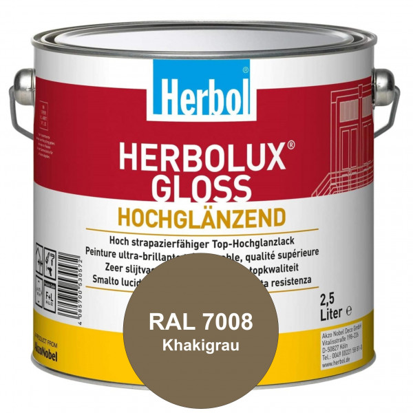 Herbolux Gloss (RAL 7008 Khakigrau) strapazierfähiger Top-Hochglanzlack (lösemittelhaltig) für innen