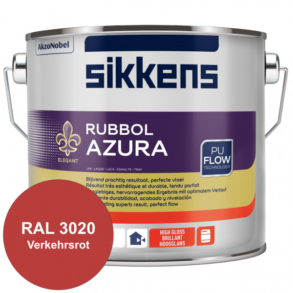 Rubbol Azura (RAL 3020 Verkehrsrot) hochglänzender Lack (löselmittelhaltig) innen & außen