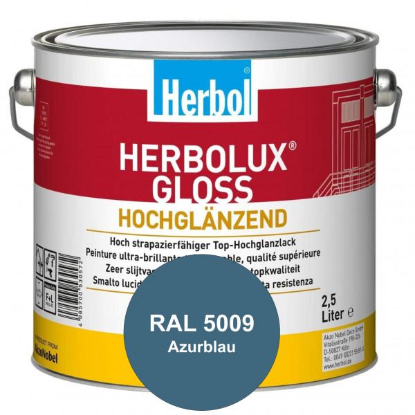 Herbolux Gloss (RAL 5009 Azurblau) strapazierfähiger Top-Hochglanzlack (lösemittelhaltig) für innen