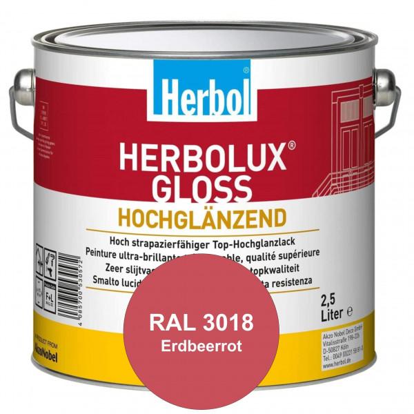 Herbolux Gloss (RAL 3018 Erdbeerrot) strapazierfähiger Top-Hochglanzlack (lösemittelhaltig) für inne