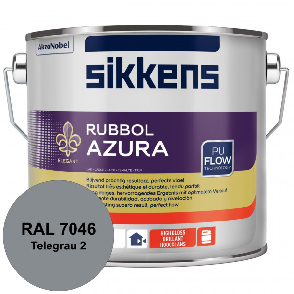Rubbol Azura (RAL 7046 Telegrau 2) hochglänzender Lack (löselmittelhaltig) innen & außen