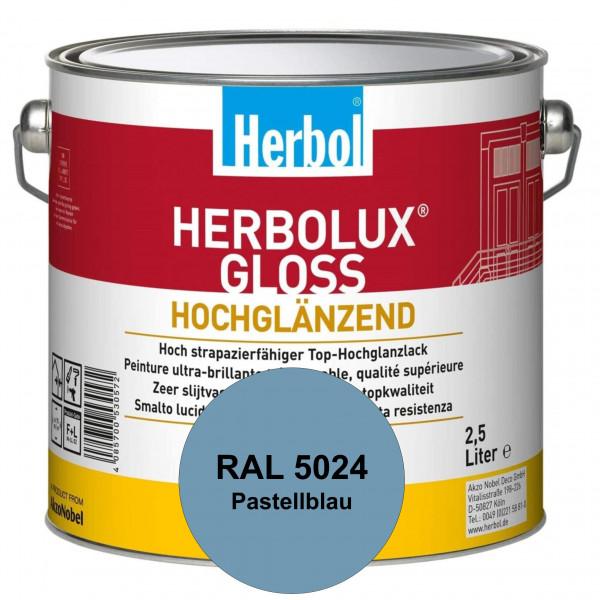 Herbolux Gloss (RAL 5024 Pastellblau) strapazierfähiger Top-Hochglanzlack (lösemittelhaltig) für inn