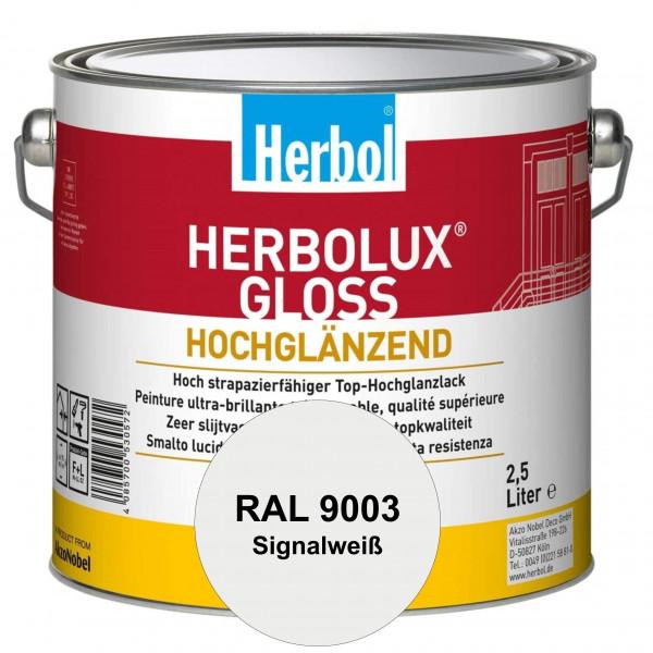Herbolux Gloss (RAL 9003 Signalweiß) strapazierfähiger Top-Hochglanzlack (lösemittelhaltig) für inne