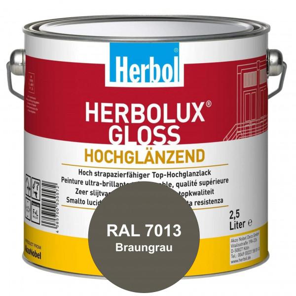 Herbolux Gloss (RAL 7013 Braungrau) strapazierfähiger Top-Hochglanzlack (lösemittelhaltig) für innen
